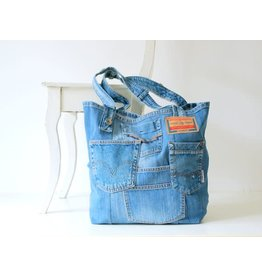 Lowieke XXL beachbag jeans medium blauw + grijs