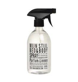 Mijn Stijl Bed & Bodyspray parfum Linnen 500 ml - wit-zwart