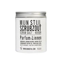 Mijn Stijl Scrubzout parfum Linnen 400 gram wit-zwart etiket