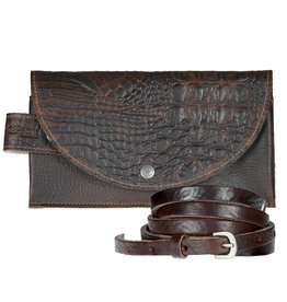 Pimps and Pearls Tasss 8 - Smart/Wallet/Clutch Croco 03 Brown Chocolat