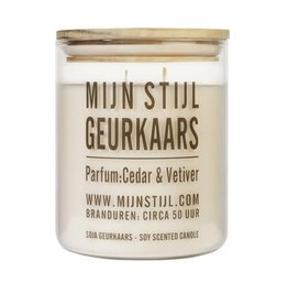 Mijn Stijl Geurkaars Soja - Geur Cedar & Vetiver - Houten deksel XL