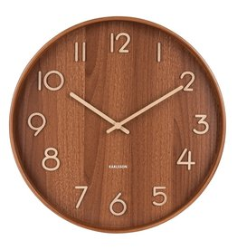 Karlsson Wall Clock Pure - Large - Dark Wood - 60 cm