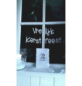 Op de Maalzolder Raamsticker herbruikbaar - Vrolijk Kerstfeest - Wit