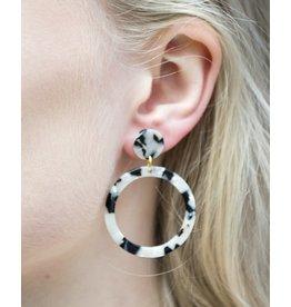 Label Kiki Statement Black White Round - Earring
