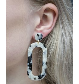 Label Kiki Black White Small Oval - Earring