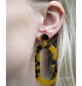 Label Kiki Statement Brown Small Oval - Earring