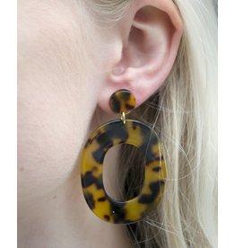 Label Kiki Statement Brown Big Oval - Earring