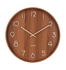 Karlsson Wall Clock Pure - Medium - Dark Wood - 40 cm