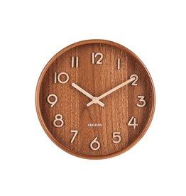 Karlsson Wall Clock Pure - Small - Dark Wood - 22 cm