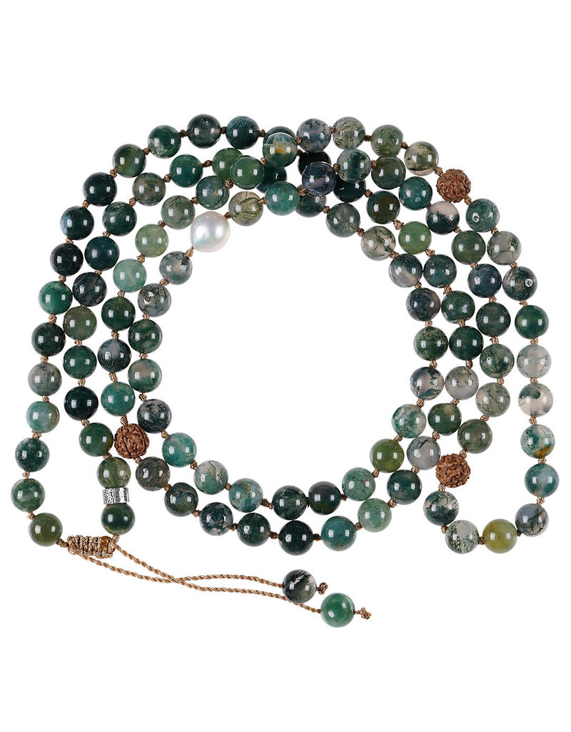 Pimps and Pearls Mala Necklace XL 05 Mos Agate