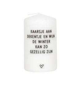 Zoedt Kaars met tekst 'Kaarsje aan, dekentje met wijn..'