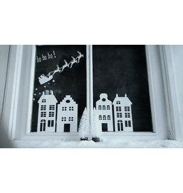 Op de Maalzolder Raamsticker Herbruikbaar - Huisjes en Kerstman