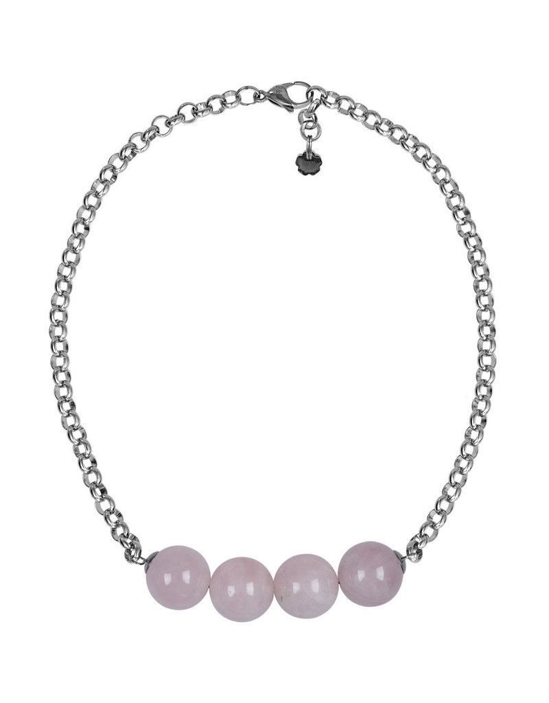 Pimps and Pearls Necklace Rough Gotcha 08 Rose Quartz