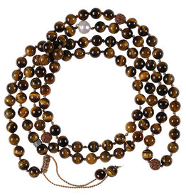 Pimps and Pearls Mala Necklace XL 02 Tiger Eye