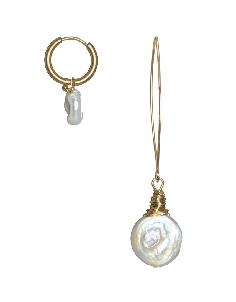 Pimps and Pearls Ear Fashion 20 Duo Pearls Gold