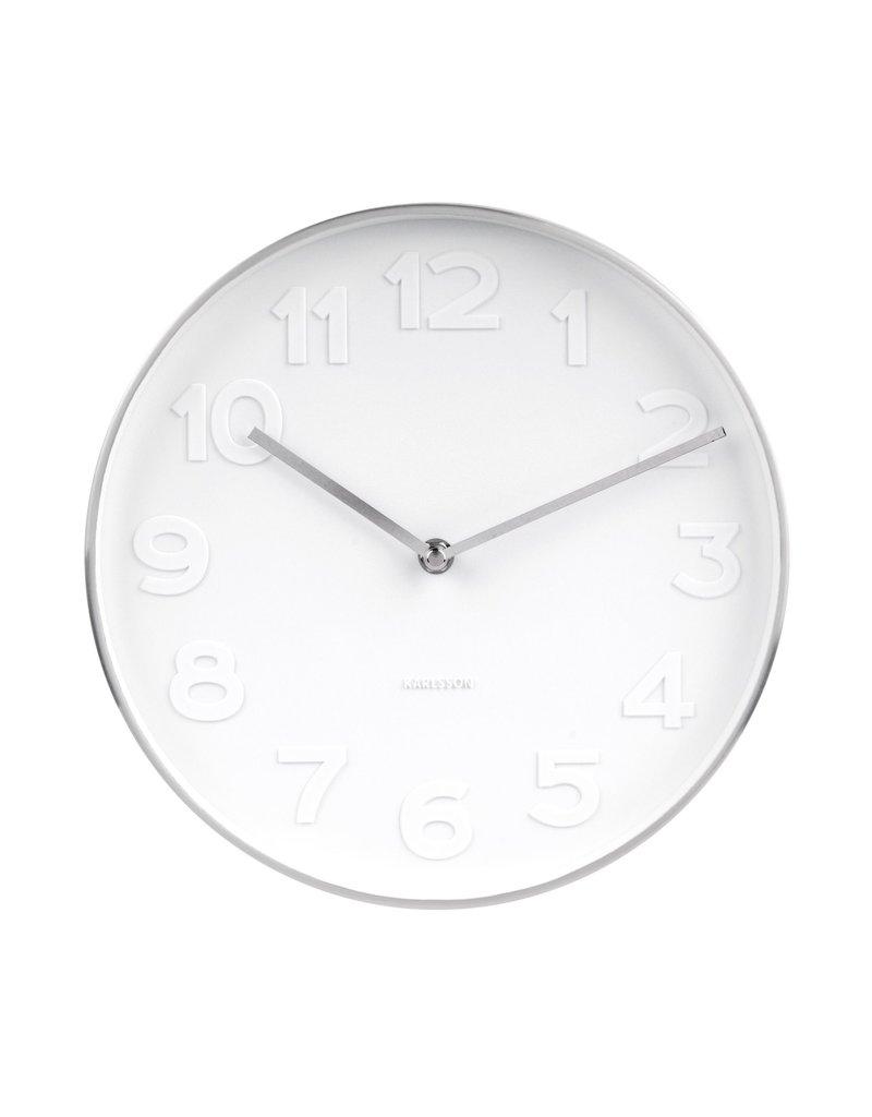 Karlsson Wall Clock Mr White Steel Polished 27,5 cm