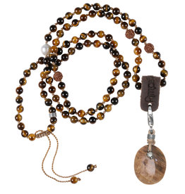Pimps and Pearls 02C Mala Necklace Tiger Eye & Charm Petrified wood