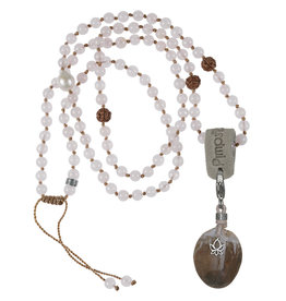 Pimps and Pearls 03C Mala Necklace Rose Kwarts & Charm Petrified wood
