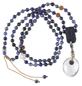 Pimps and Pearls 06A Mala Necklace Sodalite & Charm Clear Cristal