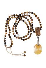 Pimps and Pearls 02A Mala Necklace Tiger Eye & Charm Limonite Quartz
