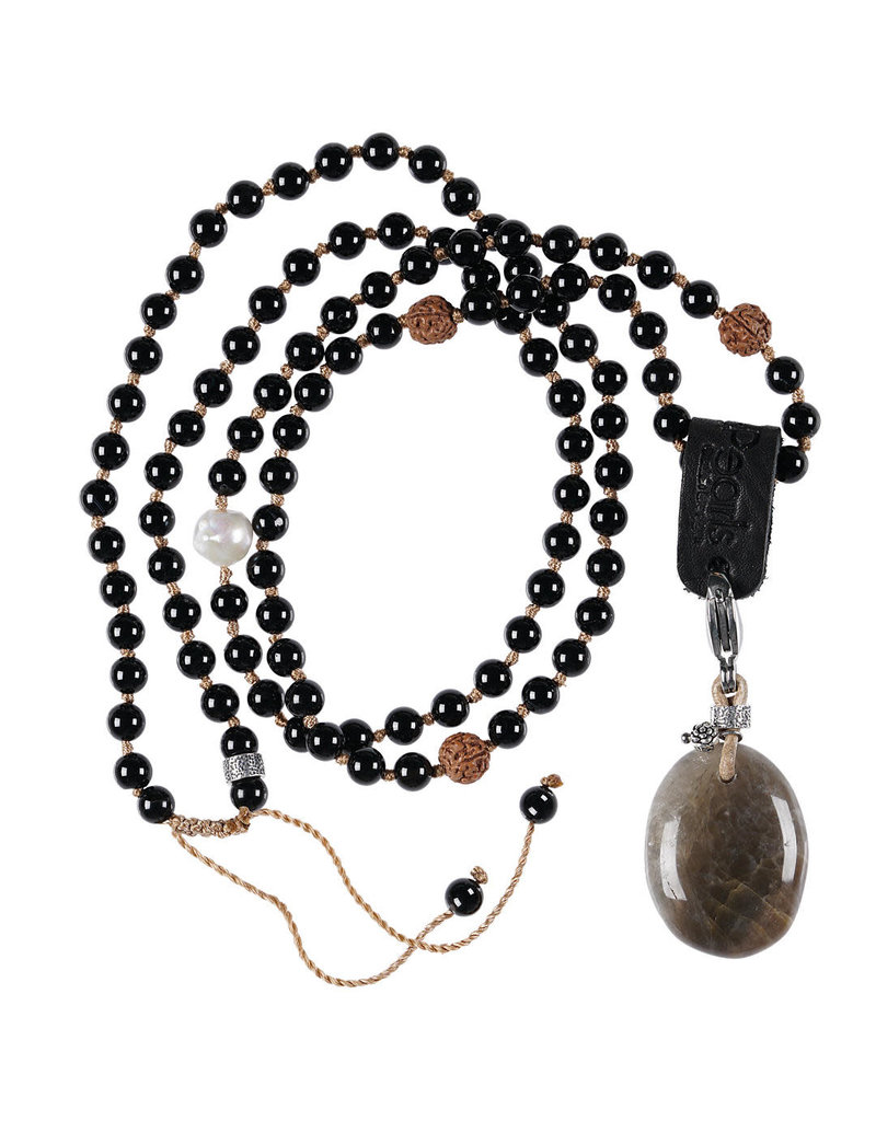 Pimps and Pearls 01A Mala Necklace Onyx & Charm Moonstone