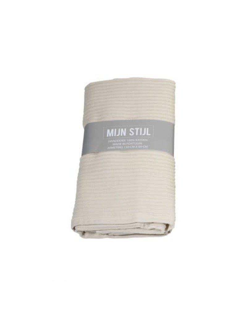 Mijn Stijl Handdoek XL ecru 130 x 60 cm met banderol