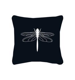 Zoedt Buitenkussen zwart met witte libelle
