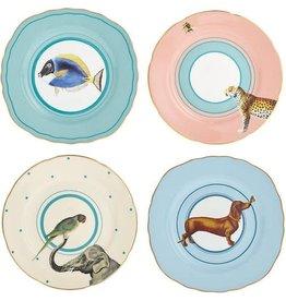 Yvonne Ellen Set/4 cake plates (dog, fish, elephant, cheetah) 16cm