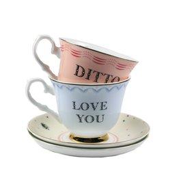 Yvonne Ellen Theeservies kop en schotel - Set van 2 (Love You / Ditto)