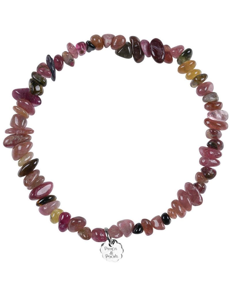 Pimps and Pearls Birthstone Bracelet Rocks 10 Rose Tourmaline