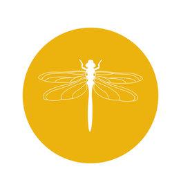 Zoedt Muurcirkel okergeel met Libelle - 20cm