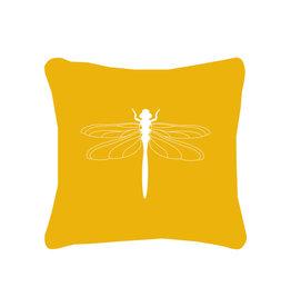 Zoedt Buitenkussen geel met witte libelle
