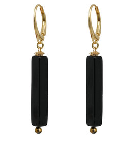 Pimps and Pearls Ear Fashion 41 Square Onyx Gold