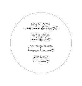 Zoedt Muurcirkel WIT met gedicht 'Kom binnen en geniet' 20cm