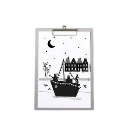 Zoedt Poster Sinterklaas stoomboot op grijs klembord