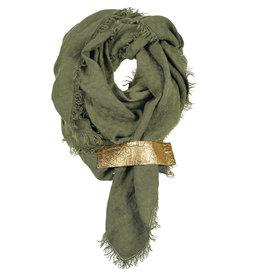Pimps and Pearls Dress2Kill Sjaal 28 Green Olive met Vegan style lus