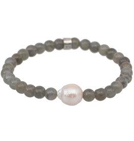 Pimps and Pearls Mala Bracelet Pearl 19 Labradorite