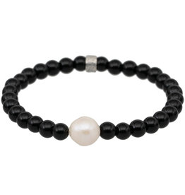 Pimps and Pearls Mala Bracelet Pearl 1A Onyx