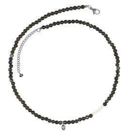 Pimps and Pearls Mya Mala Short Necklace 16 Golden Obsidian