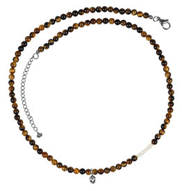 Pimps and Pearls Mya Mala Short Necklace 17 Tiger Eye