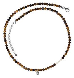 Pimps and Pearls Mya Mala Short Necklace 17 Tiger Eye
