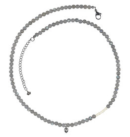 Pimps and Pearls Mya Mala Short Necklace 19 Labradorite