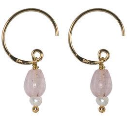 Pimps and Pearls Saya Mala Earring 07 Rose Quartz Drop Gold