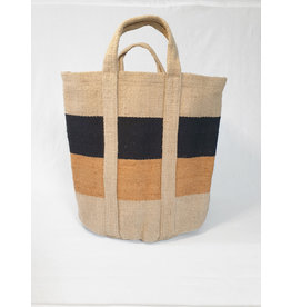 Bijzonder Design Store Jute Haardhout Mand XL - zwart en naturel met brique