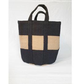 Bijzonder Design Store Jute Haardhout Mand XL - zwart met naturel band