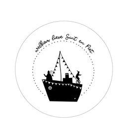 Zoedt Muurcirkel Sinterklaas stoomboot 'Welkom lieve Sint en Piet' 20cm