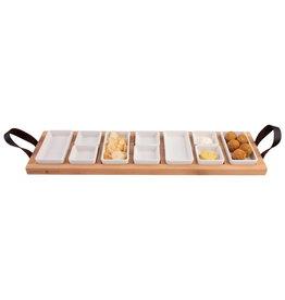 Bowls and Dishes Streetfoodtray Beukenhout 69 cm 7-vaks met 6 en 4 WITTE borrelbakjes
