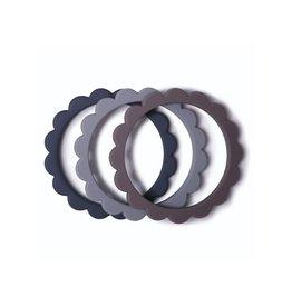 Mushie Mushie Siliconen Set 3 Bijtringen | Steel -  Gray - Stone