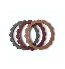 Mushie Mushie Siliconen Set 3 Bijtringen | Dried thyme - Natural - Berry