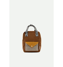 Sticky Lemon Small backpack corduroy | walnut brown + marigold + steel blue